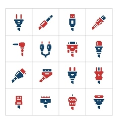 Set color icons of plugs and connectors vector