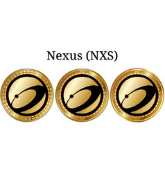 Set of physical golden coin nexus nxs vector