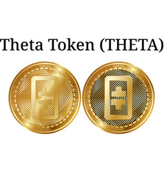 Set of physical golden coin theta token theta vector