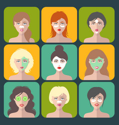 Set of women icons with different cosmetic vector