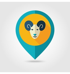 Sheep flat pin map icon animal head vector