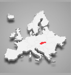 Slovakia country location within europe 3d map vector