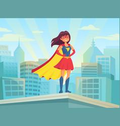 Super woman watching city wonder hero girl vector