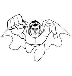 superhero coming at you line art vector image