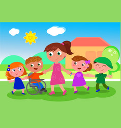 Teacher with kids near school vector