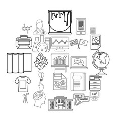 Teaching icons set outline style vector