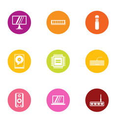 technical monitor icons set flat style vector image