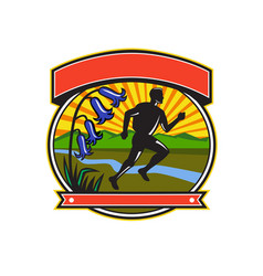 trail runner bluebells oval icon vector image