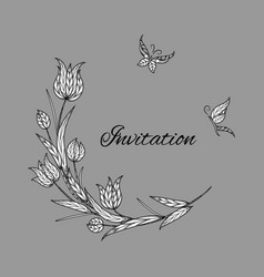 tulip invitation with butterfly vector image