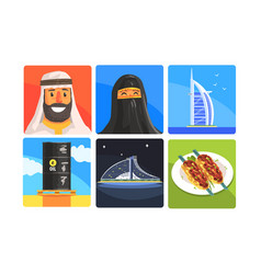 united arab emirates traditional symbols set vector image
