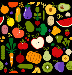 vegetarian food seamless pattern for healthy diet vector image