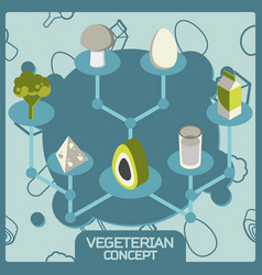 vegeterian color concept isometric icons vector image