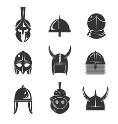 Warrior helmet flat icon set vector