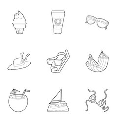 water recreation icons set outline style vector image
