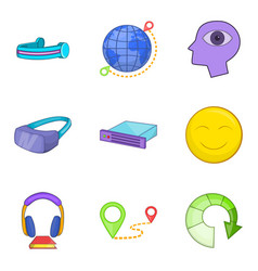 Web gadget icons set cartoon style vector