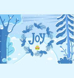 winter landscape christmas holiday joy caption vector image
