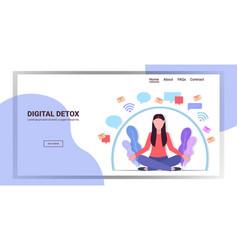Woman sitting lotus pose digital detox concept vector