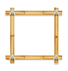 Wooden frame bamboo sticks realistic vector