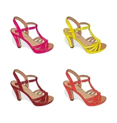 A set of colorful female summer shoes on a white vector image vector image