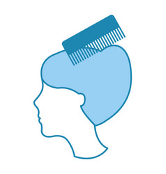 barbershop comb with female hair vector image