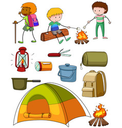 camping set with campers and tent vector image vector image