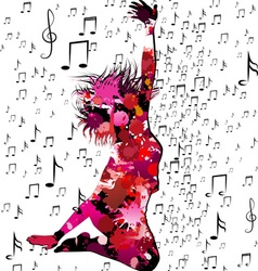 Silhouette of a Jumping Girl Surronded by Music vector image