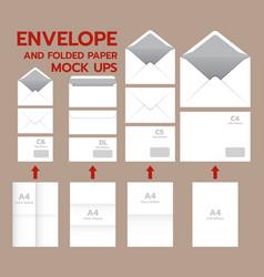 envelope postal mockup set realistic style vector image