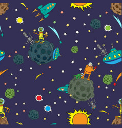 seamless background space rockets and ufos stars vector image vector image