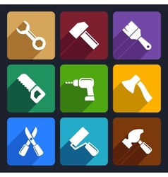 Working tools flat icon set 13 vector image vector image
