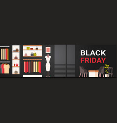 black friday sale poster with fashion clothes shop vector image vector image