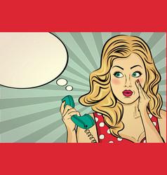 blonde lady gossip at retro phone vector image