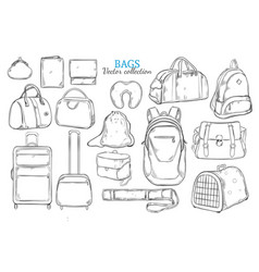 Hand drawn travel bags set vector
