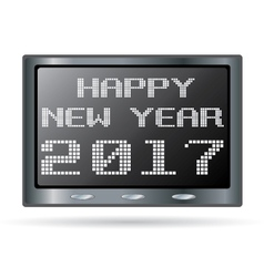 Happy new year design for digital clock isolated vector