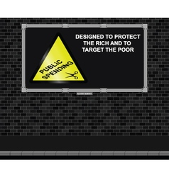 Spending cuts advertising board vector image vector image