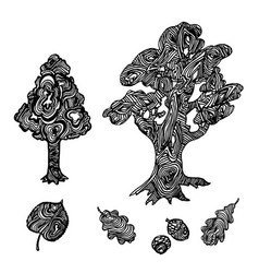 trees and leaves sketch vector image