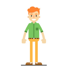 young happy redheaded guy in shirt and pants vector image vector image