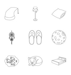 a set of pictures on a theme a dream rest bed vector image vector image