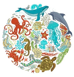 Circle set of cartoon sealife animals over white vector