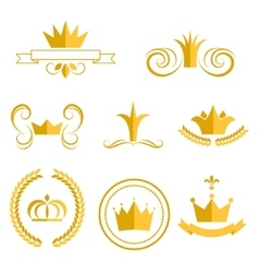 Gold crown logos and badges clip art set vector image