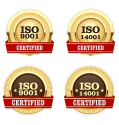 Golden medals ISO 9001 certified - quality vector image