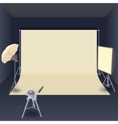Photo studio with lighting equipment cartoon style vector image