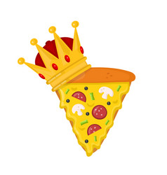 slice pizza with crown flat cartoon vector image vector image