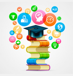 stack of books with icons art object vector image