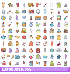100 goods icons set cartoon style vector image