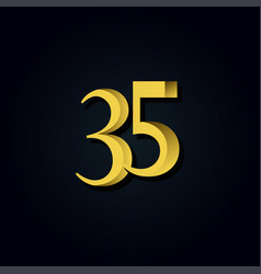 35 years anniversary gold number template design vector