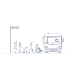 A group of people enters the city bus vector