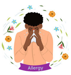 A man with seasonal allergies blows his nose vector