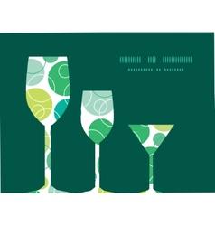 Abstract green circles three wine glasses vector