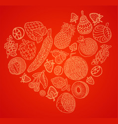art with fruits and berries set in the shape of vector image