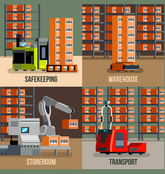Automated warehouse flat design concept vector